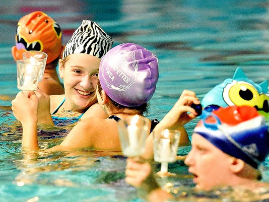 """The Synchro-ettes practice for their upcoming  performance of """"The Little Mermaid"""" at YWCA York on Thursday."""