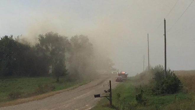 Smoke in the air near Mingo after a reported house explosion.