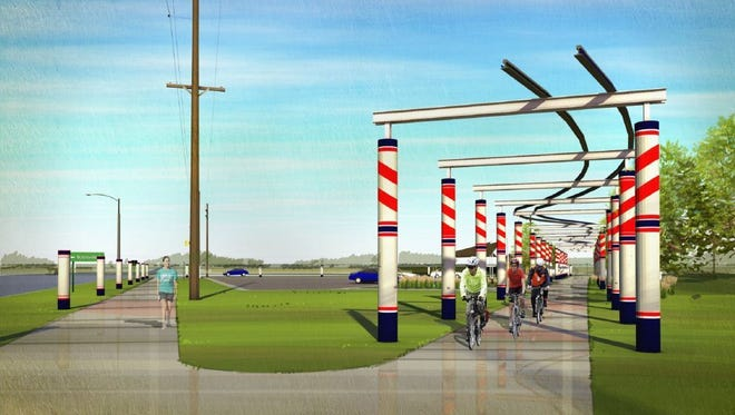 A massive art structure proposed for the Raccoon River Valley Trailhead in Waukee features repurposed steel train rails that extend more than 350 feet, elevated 17 feet above the trail. Dozens of striped tile columns are modeled after railroad crossing features.