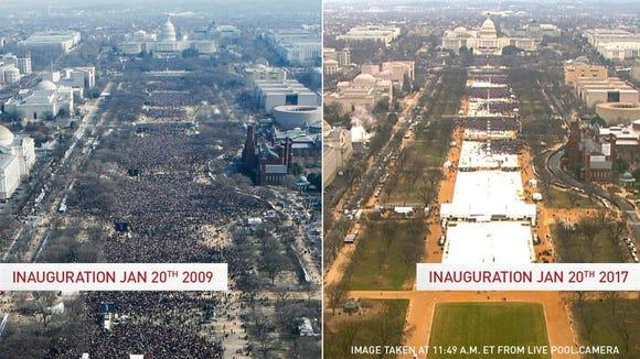 Obama's 2009 inauturation (left) versus Trump's