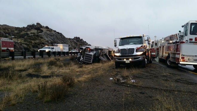 A cattle truck overturned on Interstate 80 Friday morning killing about 15 cattle.