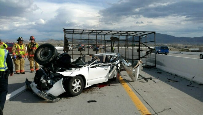 One person died after a trailer unhitched from a truck on I-580 and Mount Rose Highway.