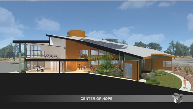 This art rendering shows a 43,000-square-foot wellness campus. More than half of the space will be for the clinic. The rest will make room for a workshop and 18 efficiency units.