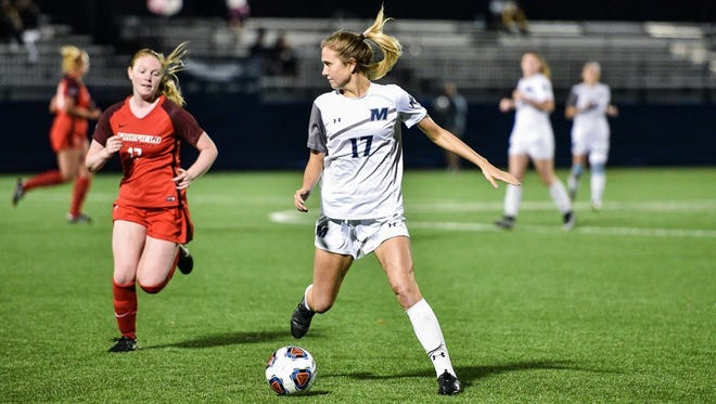 Monmouth's Madie Gibson (17), shown in a recent game agaisnt Fairfield, scored the game-winner in the 84th minute against Niagra on Sunday in the quarterfinals fo the MAAC Championship in Lake Buena Vista, Fla.