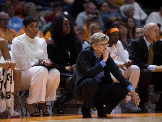 Tennessee head coach Holly Warlick watches her playersduring