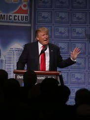 Republican nominee Donald Trump speaks to the Detroit