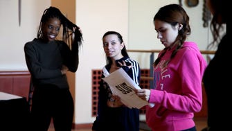 "Newark Public School students rehearse the play ""Slut,"" which will be presented at New Jersey Performing Arts Center from April 25-27."