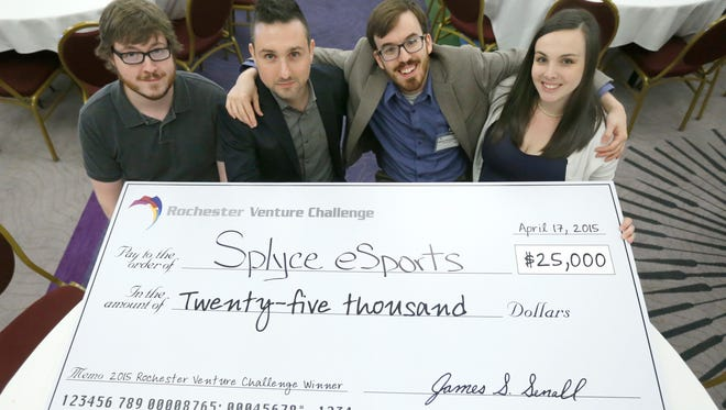 Splyce eSports wins the Rochester Venture Challenge with its members Jeff Appis, Vincent Garguilo, Marty Strenczewilk and Meghan Strenczewilk at the Hyatt Regency Hotel in Rochester. Best-selling author and entrepreneur Josh Linkner spoke at the annual luncheon.