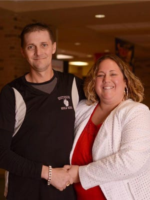 Mathew and Kim Conner pose for a school photo at Southside Middle School during the 2015-16 year. Matt started volunteering full-time after finding out he had terminal cancer.
