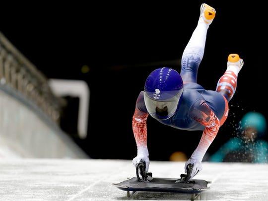 Britain's Shelly Rudman starts her training run prior to the 2014 Winter Olympics, Feb. 5, 2014, in Krasnaya Polyana, Russia. (