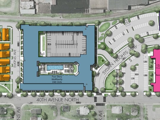 Hill Center Sylvan Heights will include about 20,000 square feet of retail space in two buildings, 14 single-family homes, 12 townhomes and at least 260 apartments in a four-story building.