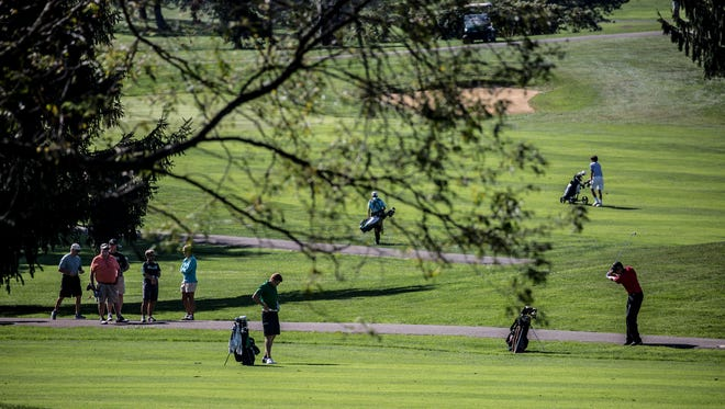 Golfers compete at last year's Division II and III boys golf tournament at the Apple Valley Golf Course.
