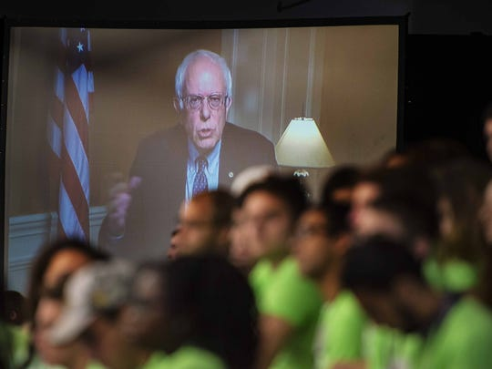 Sen. Bernie Sanders speaks from Las Vegas to the No Labels Problem Solver Convention in Manchester N.H. on Monday, October 12, 2015.