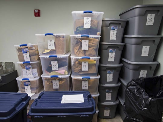In 2014, now-former Colchester Police Detective Tyler Kinney was fired for tampering with evidence in the department's evidence room. Now, evidence that he had access to, seen on Tuesday, November 3, 2015, is segregated in bins from other evidence gathered since he was fired.