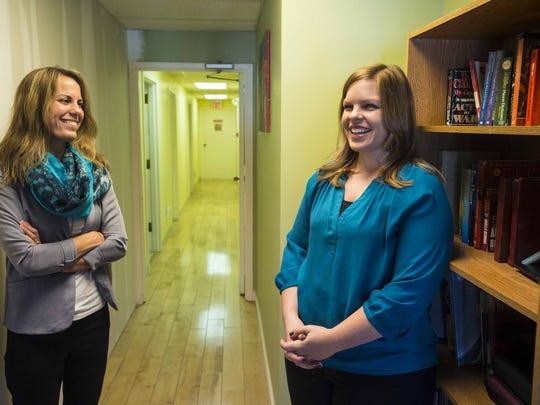 ANEW Place Executive Director Valerie Brosseau, left,