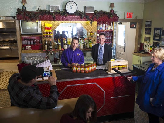 Mark Bove announces on Monday that his family restaurant's signature pasta sauce will be made in a new facility in Milton. He held a news conference behind the bar at Bove's, an Italian restaurant that opened on Pearl Street in 1941 and closed Dec. 23, 2015.