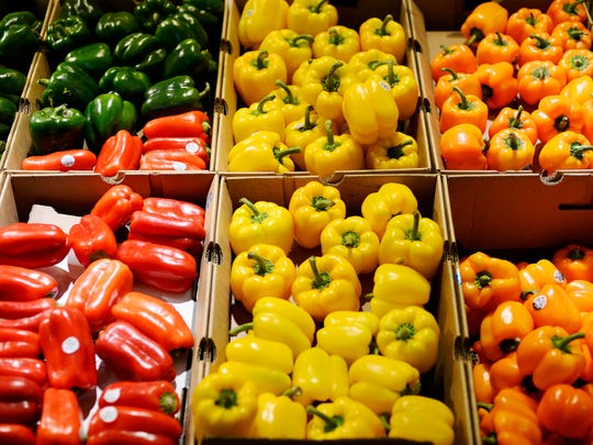 Peppers fill boxes in the produce section at Giant in West Manchester Township. Vegetables have vitamins and minerals that your body needs to stay healthy.