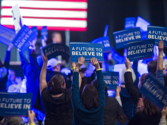 Supporters of Democratic presidential candidate Bernie Sanders cheer during the New Hampshire Democratic Party's 2016 McIntyre-Shaheen 100 Club Celebration at the Verizon Wireless Center in Manchester on Friday, February 5, 2016.