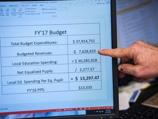 Larry Waters, Colchester's superintendent of schools, explains the budget for fiscal year 2017 on Wednesday, February 17, 2016.
