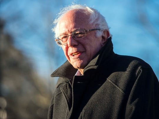 Democratic presidential candidate Sen. Bernie Sanders, I-Vt., speaks after voting in Vermont's presidential primary in Burlington on Tuesday, March 1, 2016.