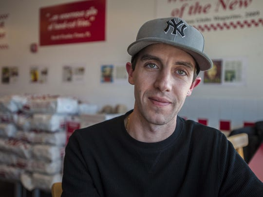 Anthony Dion, a manger at Five Guys Burgers in South Burlington, seen on Thursday, March 3, 2016. Dion supports a bill proposed in the legislature that would prohibit employers from asking prospective employees about their criminal records.  Dion, who himself has a criminal record, has hired ex-cons at work.