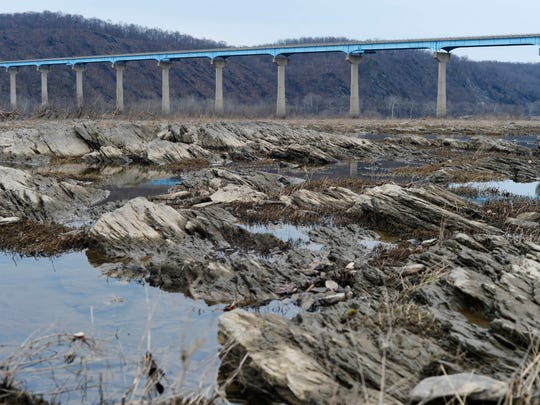 The Susquehanna River just below the Holtwood Dam, looking toward the Route 372 bridge in Lower Chanceford Township.
