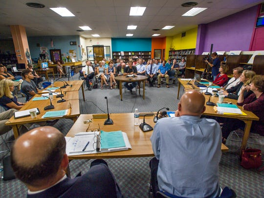 Art Klugo, center, speaks as the South Burlington School Board considers a proposed school consolidation plan on Wednesday, September 7, 2016.