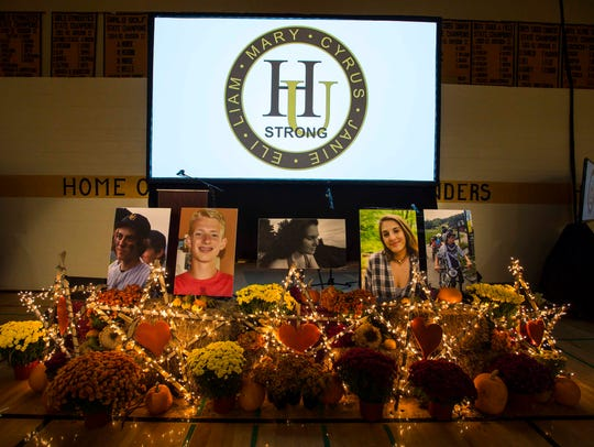 A memorial to the five teenagers who died in a head-on