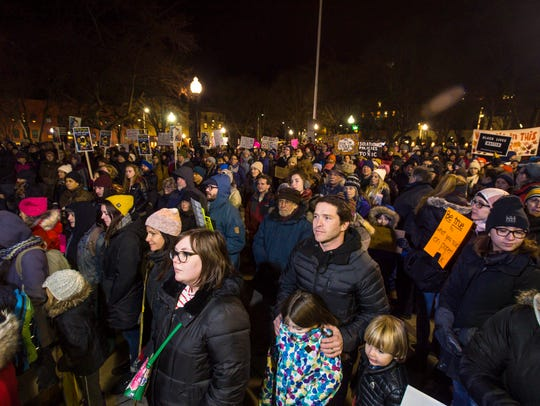 Several hundred demonstrators gathered for a rally,