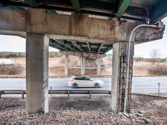 The bridge carrying Route 2 over I-89 at exit 17 in Colchester, seen on Monday, February 27, 2017, has been classified at structurally deficient by the state.
