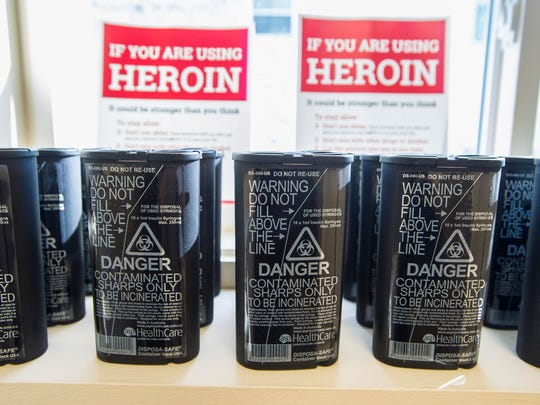 Used needle containers are seen at the Howard Center's Safe Recovery Support and Education Program are seen in Burlington on Wednesday, March 22, 2017. Chittenden County State's Attorney Sarah George has announced a task force to examine the possibility of establishing a safe heroin injection site.