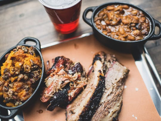 Mighty Quinn's brisket and pulled pork with sides