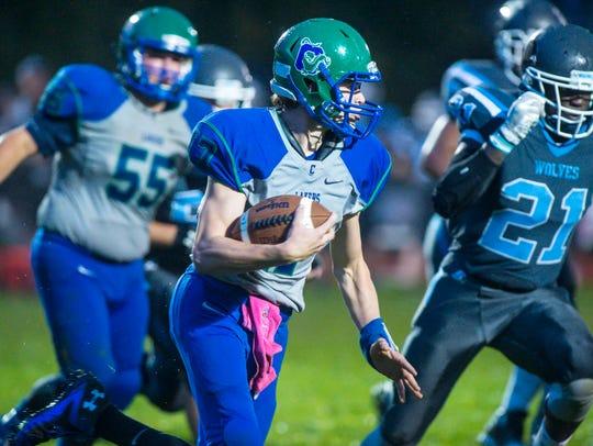 Colchester's Zack Morin looks for room to run against