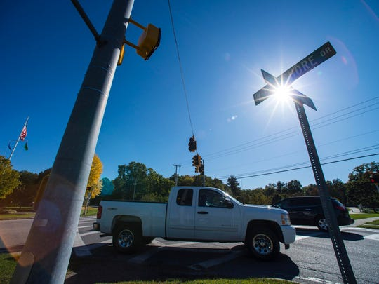 A roundabout is planned for the intersection of East Lakeshore Drive, West Lakeshore Drive and Blakely Road in Colchester, seen on Thursday, October 12, 2017.
