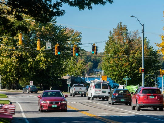 A roundabout is planned for the intersection of East Lakeshore Drive, West Lakeshore Drive and Blakely Road in Colchester. The view from Blakely Road looking northwest is seen on Thursday, October 12, 2017.