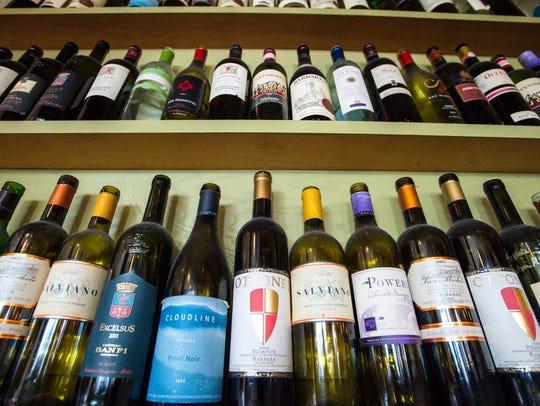 Wine bottles on display at Pulcinella's in South Burlington