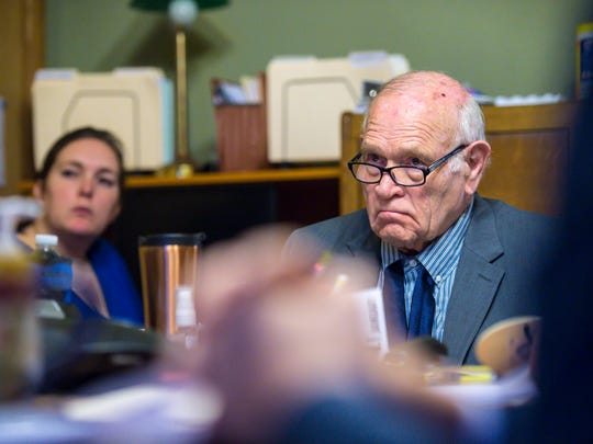 Sen. Dick Sears, D-Bennington, chair of the Senate Judiciary Committee, listens to testimony in Montpelier on Thursday, January 4, 2018.