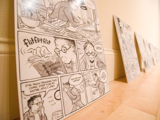 """Self-Confessed! The Inappropriately Intimate Comics of Alison Bechdel,"" an exhibit at the University of Vermont's Fleming Museum. Seen in Burlington on Friday, January 19, 2018."