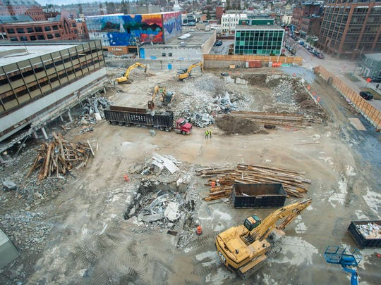 Destruction of the Burlington Town Center continues in Burlington on Thursday April 26, 2018. The CityPlace Burlington will be built on the site.