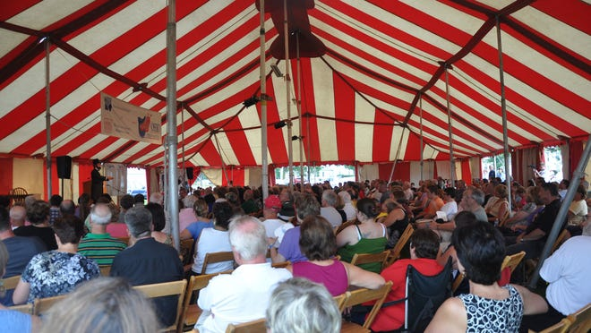 A big, red-and-white tent with seating for about 500 people will host the Ohio Chautauqua for the third time since 2011 for this year's event in July at the Coshocton County Fairgrounds.