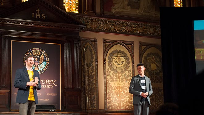 """On Oct. 24, Elijah Jatovsky and Patrick Lim, seniors at Georgetown University, gave their TEDx talk, """"A Syrias Risk,"""" detailing their study abroad experiences in Jordan and activism with Syrian refugees (Photo: Samantha Rhodes)."""
