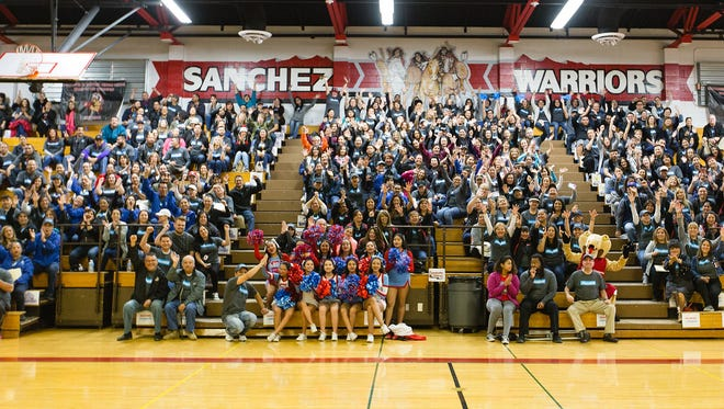 """Over 3,000 teachers visited 10,000 student homes March 3 in the Socorro ISD's """"Stand and Deliver"""" event."""