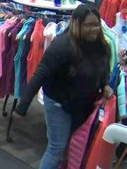One of the suspects in a theft from Skiers Outlet.