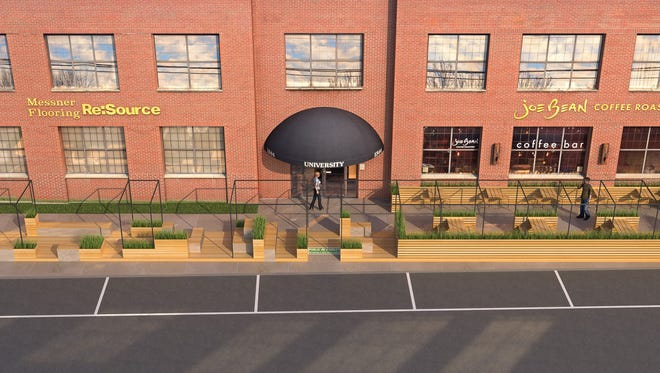 Conceptual rendering of new parklet planned for University Avenue.