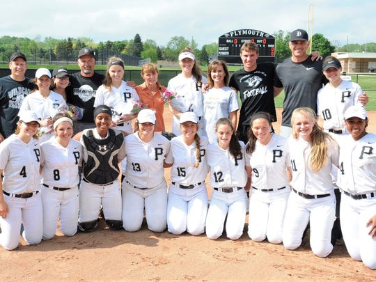 Plymouth's softball seniors were recognized prior to