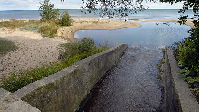 Runoff from the city of Manitowoc flows into Lake Michigan at Red Arrow Park.