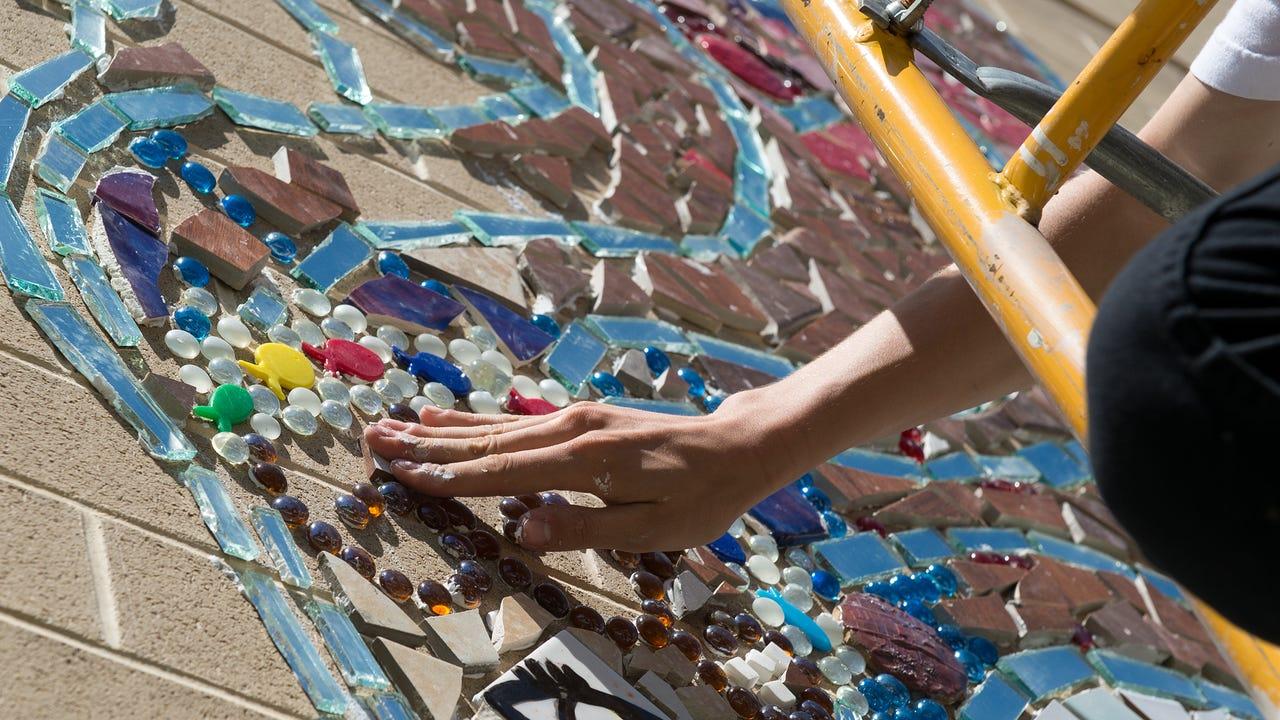 Watch mosaic mural at cashs for Mural mosaic