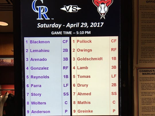 The Diamondbacks vs. Rockies Saturday lineup at Chase