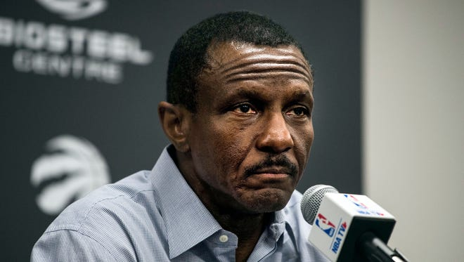 Toronto Raptors head coach Dwane Casey speaks to the media during an end-of-season news conference in Toronto on May 9, 2018.