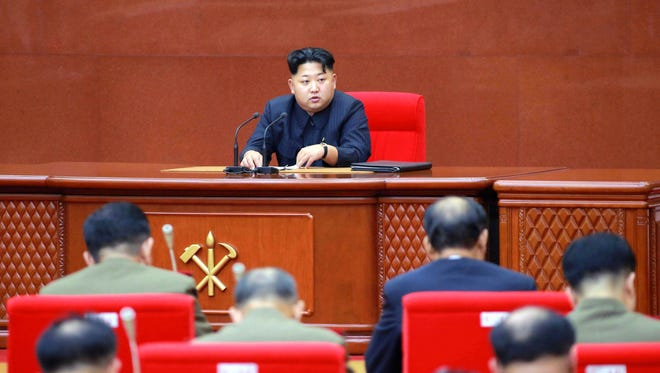 North Korean leader Kim Jong Un presides over an enlarged meeting of the Central Military Commission of the Workers' Party of Korea in Pyongyang, North Korea, on Aug. 28, 2015.